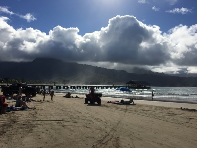 Hanalei Bay - the reassuring sight of firefighters / lifeguards nearby!
